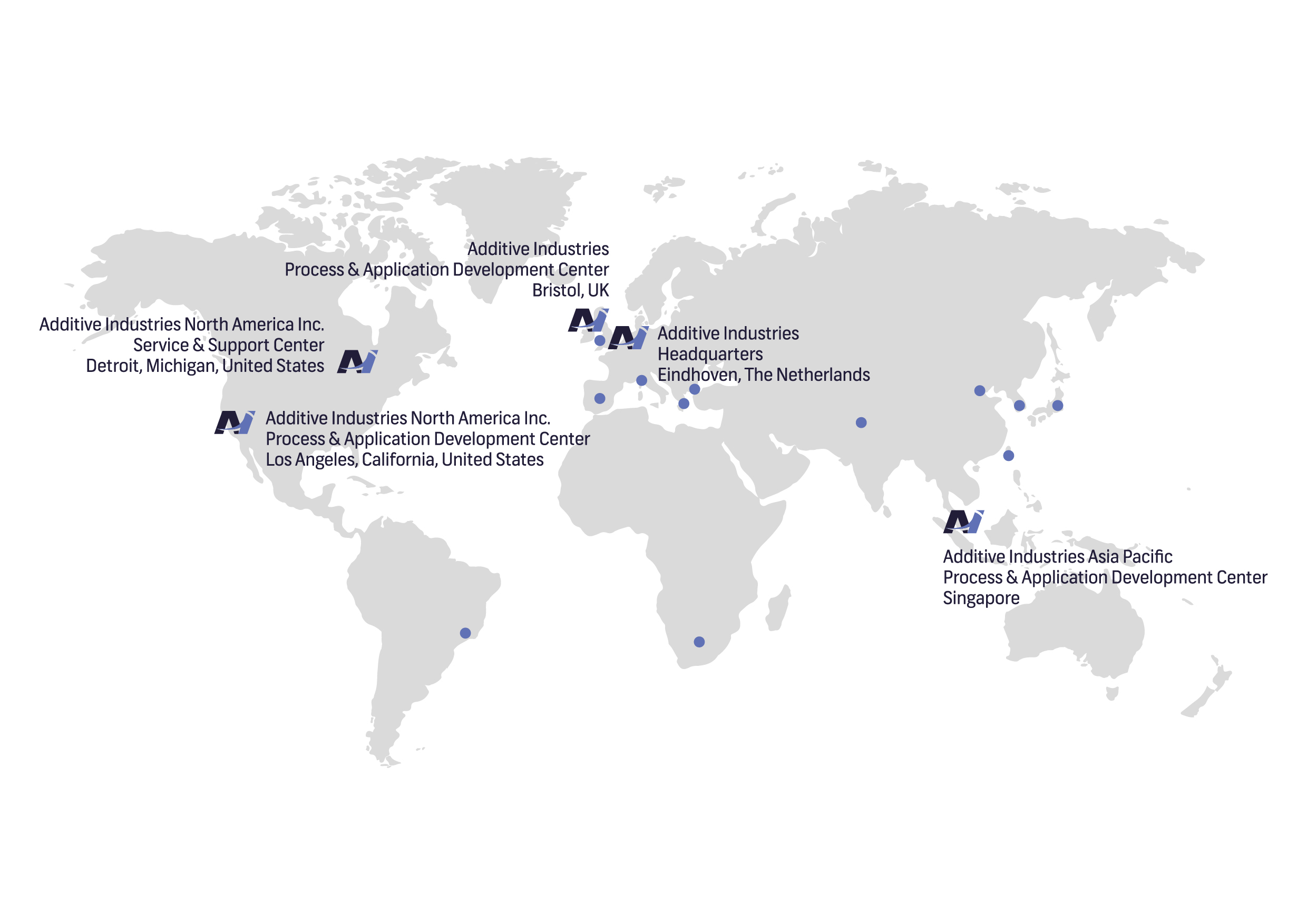 Additive Industries' world wide offices and partners