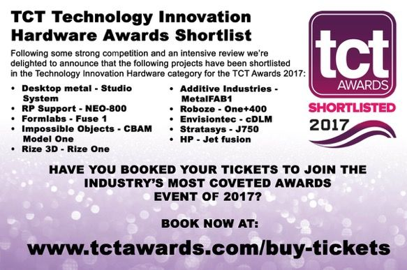 MetalFAB1 shortlisted for Technology Innovation Hardware for TCT Awards 2017